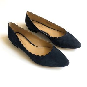 Talbots navy blue suede scalloped flats 6.5